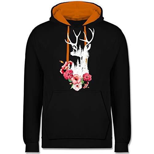 Erwachsenen Für Hirsch Kostüm Hoodie - Oktoberfest Damen - Hirsch mit Blumen weiß - XS - Schwarz/Orange - JH003 - Kontrast Hoodie