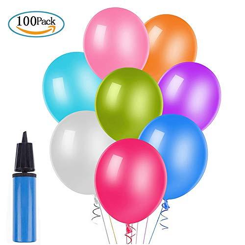 Yompz 100 Piezas Globos de Fiesta de Diversos Colores, Globos de Colores con Bomba Manual para Decoraciones de Fiesta, Bodas, Fiestas de Cumpleaños