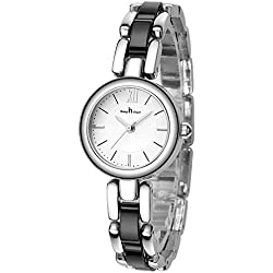 Fashion Bracelet Ceramic Strap Quartz Women Girl Wrist Watch,Silver-Black