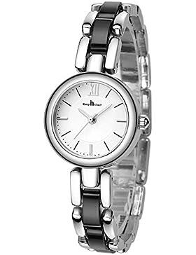 Mode Bracelet Keramik Uhrenarmband Quarz Damen Mädchen Armbanduhren, Silber-Schwarz