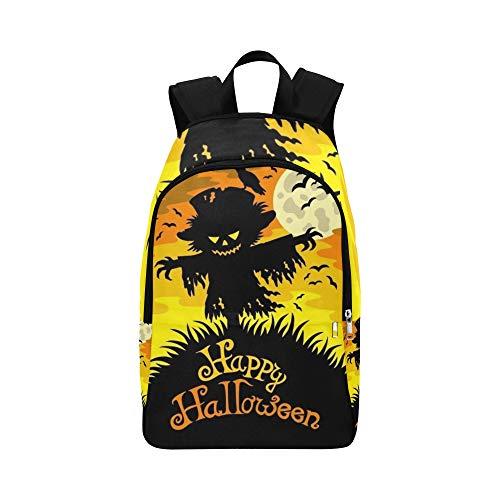 Happy Halloween Zeichen Vogelscheuche lässig Daypack Reisetasche College School Rucksack für Männer und Frauen