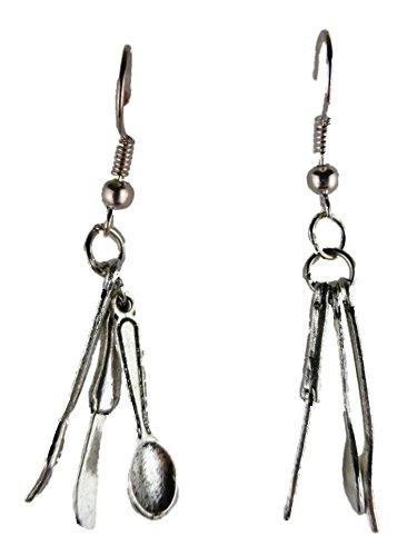 Ausgefallene Ohrringe Ohrhänger Hänger Vintage Besteck Gabel / Messer / Löffel Restaurant Imbiss 3983