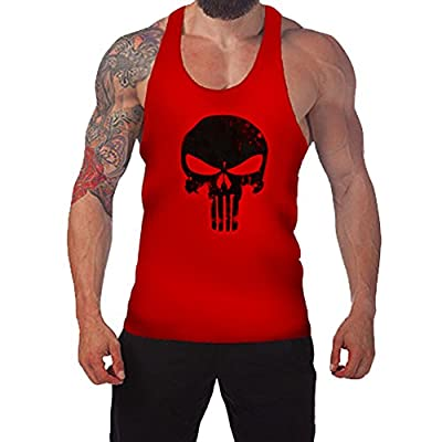 Chnli Men's Skull Print Gym Muscle Sleeveless Shirt Tank Top T-shirt Bodybuilding Sport Vest