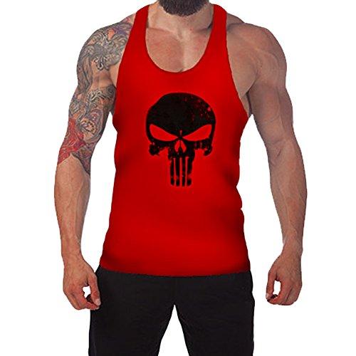 West See Herr Mann Tops Tank Tankshirt Vintage Skull Totenkopf T-Shirt Weste Muscleshirt Print (EU M, Rot)