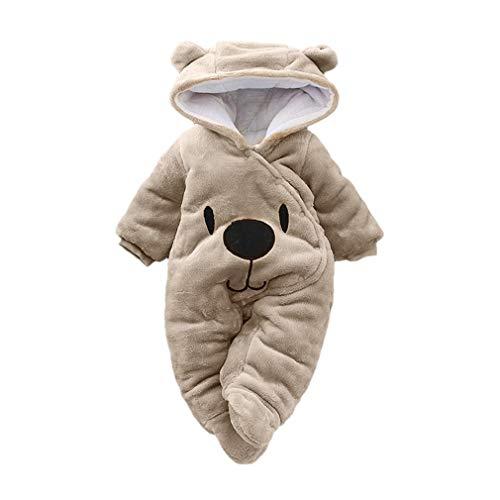 (MEIbax Neugeborenes Baby Cartoon Bär Samt mit Kapuze Jumpsuit Warm Strampler Plüsch Overall Winter Pullover Hoodies)