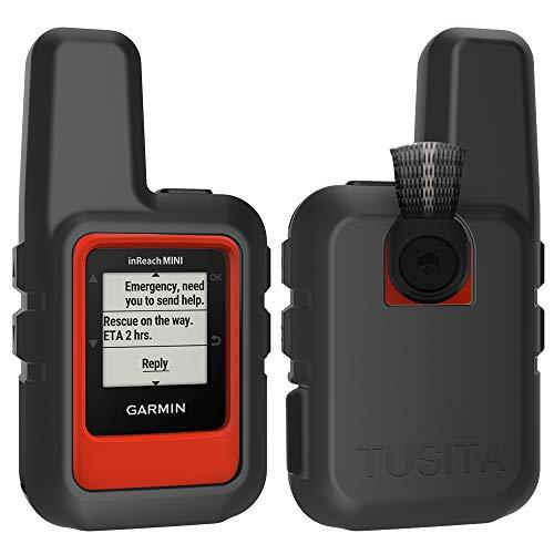TUSITA Hülle für Garmin inReach Mini GPS - Silikon Schutzhülle Skin - Handheld Satellite Communicator Zubehör (SCHWARZ)