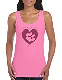 Rundhals 100/% Baumwolle Comedy Shirts Damen Tank Top Top Basic Print-Shirt Pulsschlag Pfote