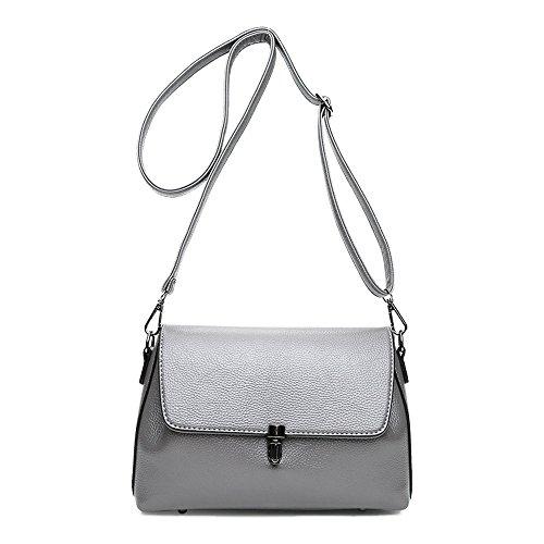 Graue Hochwertige Einfach Stil Damen Cross-body Taschen Top-Griff Tasche Kleine Handtaschen Baguettes