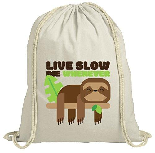Faultier natur Turnbeutel mit Live Slow Die Whenever Motiv von ShirtStreet  Natur