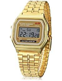 Relojes Hermosos, Unisex multifunción LCD Dial Square reloj digital Banda de aleación (oro) ( Color : Oro , Talla : Una Talla )
