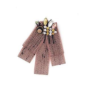 Aclth Damen-Mädchen-Bogen-Hals-Bindung Frauen Premium Crystal Bow Biene Brosche Pre-Tied Neck Tie Broschen Pin Fliege Kragen Schmuck baumeln Hochzeit Bow Tie für Frauen Kostüm Zubehör