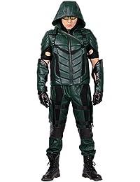 Xcoser Oliver Kostüm Herren Grüne Ausstattungs Halloween Cosplay Neue Version Leder Anzug Kleidung mit Zubehör
