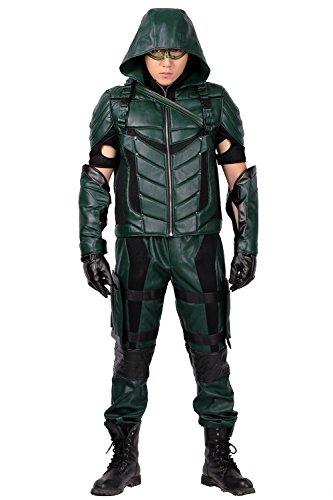 Xcoser Oliver Kostüm Herren Grüne Ausstattungs Halloween Cosplay Neue Version Leder Anzug Kleidung mit - Green Arrow Kostüm Für Kind