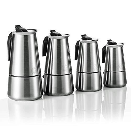 Coffee Fox Espressokocher aus Edelstahl - Kaffeebereiter Kaffeekocher Espresso-Kanne für 2 4 6 9...