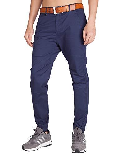 Italy morn chino jogging uomo marina militare harem pantaloni lino (x-large, blu marina)