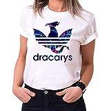 Dracarys Celia - T-Shirt Damen Targaryen Thrones Game of stark Lannister Baratheon Daenerys Khaleesi tv blu-ray DVD, Größe:M, Farbe:Weiß