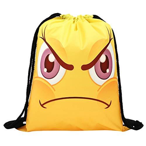 holitie Frauen Rucksack Speicher Bündel Seil lustiges niedliches Muster Einkaufstasche Rucksack mit Kordelzug, faltbar, Aufbewahrungsmöglichkeit für Schule, Zuhause, Reisen, Sport -