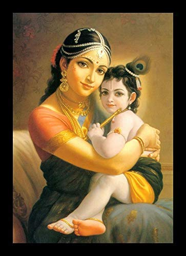 PAF Lord Little Krishna Painting with Frame Radha KRISHANA Wall Painting with Photo Frame for Wall