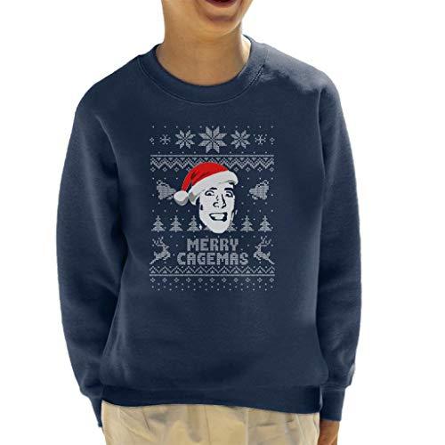 Cloud City 7 Merry Cagemas Nicolas Cage Christmas Knit Pattern Kid's Sweatshirt (Cage Nicolas Pullover)