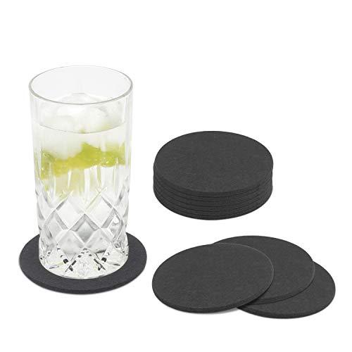 Miqio® Design - 10er Set waschbare Glasuntersetzer aus Filz - Getränkeuntersetzer (dunkelgrau anthrazit)