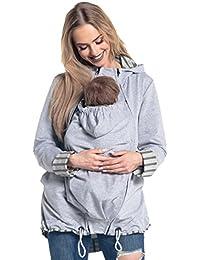 Happy Mama. Mujer sudadera capucha portador de bebé cremalleras laterales. 495p
