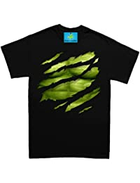 The Big Green Man Chest under torn hommes T Shirt