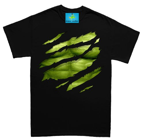 Image of The Big Green Man Chest under torn Mens T Shirt - Black - Small