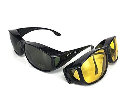 ACHATPRATIQUE Sonnenbrille ¨¹ber Brille   Set von 2 Stk   F¨¹r treibende Tage und NACHT   Anti UV401 Schutz   Wraparound Fit ¨¹ber Brille