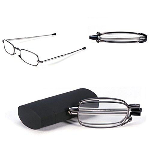 Outstanding® Metallrahmen Falten Lesebrille Brille mit Flip Tragetasche (blau)