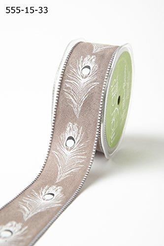 May Arts Pfauenfeder Band mit eingewebtem Rand 38mm breit (2m, Schnitt von Rolle) braun -
