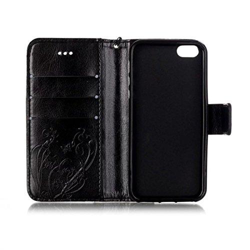 iPhone Case Cover Peint de couleur motif portefeuille style cas magnétique conception flip folio PU Housse en cuir couvrir cas standup pour iPhone 5S SE ( Color : Red , Size : IPhone 5S SE ) Black