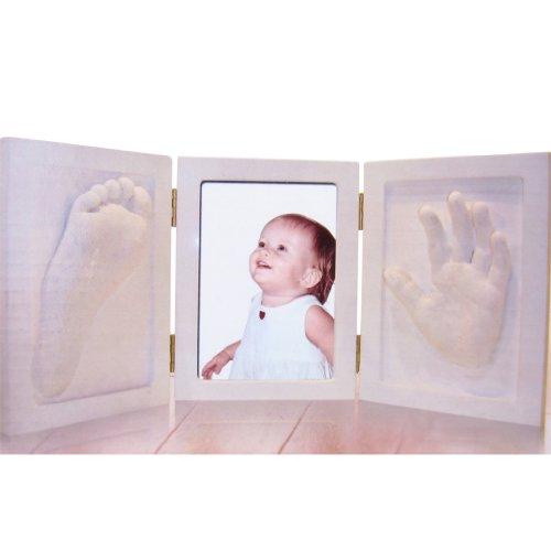 d und Fuss Bilderrahmen mit 3d Abdruck aus Holz Abdruckset Gips Abformset Handabdruck Fussabdruck Geschenk werdende Eltern ()