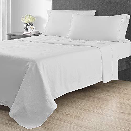 Sunham Home Fashions 1400 TC Sheet Set, California King, White -