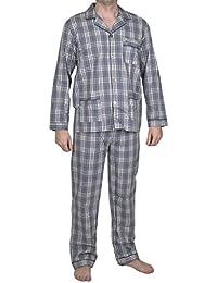 Moonline edler gewebter Herren-Pyjama Schlafanzug Hausanzug im tollen garngefärbten Karo-Design, 100% Baumwolle