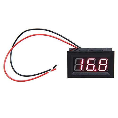 Zibuyu Digital Voltmeter,0.56inch LCD DC 3.2-30V Red LED Panel Meter Digital Voltmeter with Two-wire