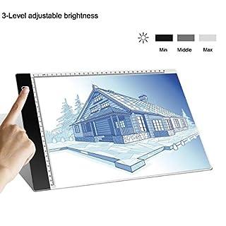 A4 LED Leuchttisch - LED Licht Pad Helligkeit dimmbar Leichtkasten A4 Leuchttisch Tragbare Zeichnen Light Pad mit USB Kabel Malen Pad Ideal für Malen Skizzierung Animation Zeichnung