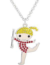 Lovely Rhythmische Gymnastik Girl Kristall Anhänger Halskette für Mädchen Frauen Geschenke Schmuck