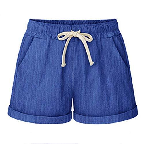 KIMODO® Damen Bandage Shorts mit weitem Bein, Einfarbig Laufhose Sport Freizeithose mit Tasche Sommerhose Große Größen