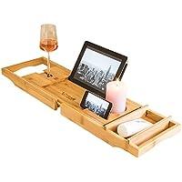 Premium Badewannenablage mit Buchstütze und Glashalter von Prime Art Wood   Badewannenbrett aus naturbraunem Bambus zum Ausziehen 74,5-108,5x23cm   inkl. GRATIS Seifenablage