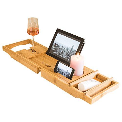 Premium Badewannenablage mit Buchstütze und Glashalter von Prime Art Wood | Badewannenbrett aus naturbraunem Bambus zum Ausziehen 74,5-108,5x23cm | inkl. GRATIS Seifenablage