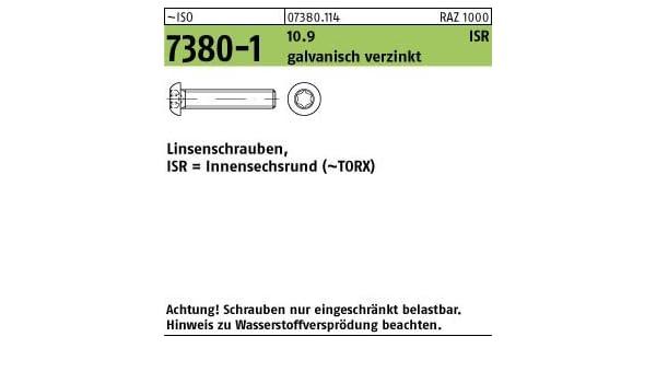 200 Inbus Linsenkopfschrauben ISO 7380-1 10.9 verzinkt M8x18