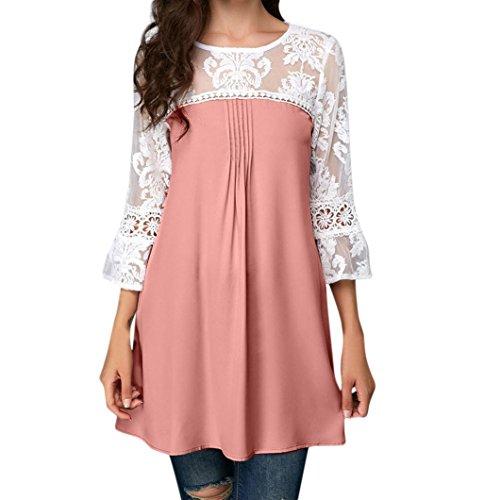 Xiantime Damen Bluse Damen Oversize Bluse Shirt Vintage Locker V-Ausschnitt Shirts Top Schulterfrei...
