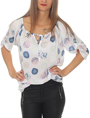 cleostyle top modische Bluse, Punkte, Tupfen Sommer Tunika mit Carmen Ausschnitt 160-1 (Weiß)