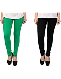Anekaant Women's Cotton Lycra Combo Legging (Pack of Two) - Green & Black