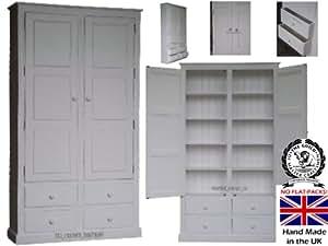 100%  bois massif pour placard, 7 cm x 4 m avec 4 tiroirs de rangement blanc laqué, lin, chaussures, rangement, à l'école, le couloir, la cuisine Garde-manger placard Aucun montage requis (CUP74D-P)