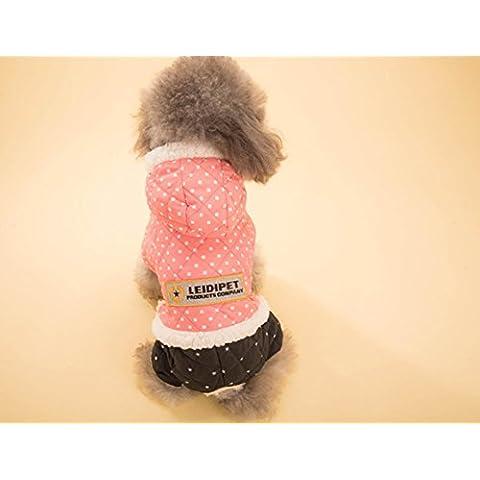 Animales domésticos: artículos para mascotas cachorro de algodón cuadrúpedo con capucha caliente acolchada traje Dongkuan , pink , xxl