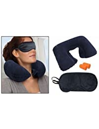 LOYAL EMPLE 3 in 1 Super soft travel neck pillow Easy to Carry Multi Utility Travel Kit - Inflatable Neck Air Cushion Pillow with Eye Mask & 2 Ear Plugs