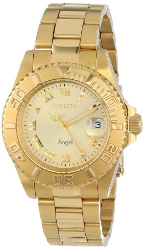 Invicta Women's Angel Gold-Tone Dial Steel Bracelet & Case Swiss Quartz Analog Watch 14321