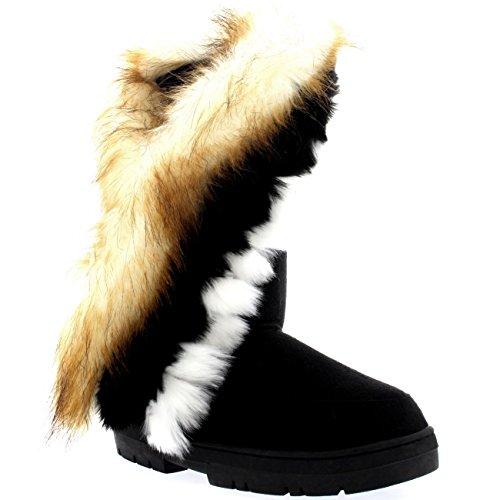 Damen Tall Tassel Rabbit Pelz Gefüttert Winter Kaltes Wetter Schnee Regen Stiefel - Schwarz - BLA39 AEA0397