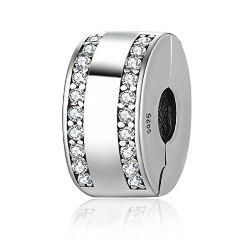 Everbling Charm Klar CZ Clip 925 Sterling Silber Bead Passt Pandora Charme Armband